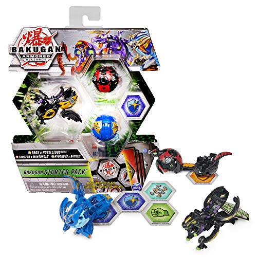 Bakugan Starter Pack 3-Pack, Fused Trox x Nobilious Ultra, Armored Alliance Collectible Action Figures