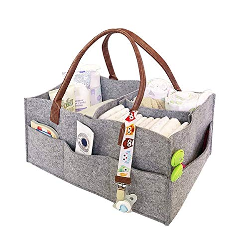 Greatangle-UK Bolsa de Momia de Tela no Tejida portátil Vejiga Bolsa de Momia Multifuncional Pila de pañales Colección de Cosas para bebés Cochecito Gris