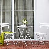PiuShopping Set da Pranzo per Giardino, in Acciaio con Tavolo Rotondo E 2 SEDIE Pieghevoli (Bianco)