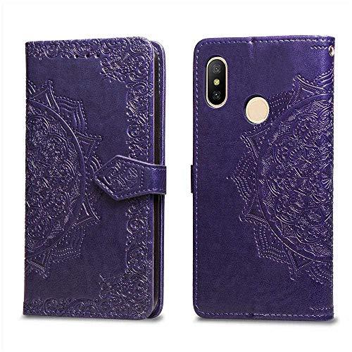Bear Village Hülle für Xiaomi MI Max 3, PU Lederhülle Handyhülle für Xiaomi MI Max 3, Brieftasche Kratzfestes Magnet Handytasche mit Kartenfach, Violett