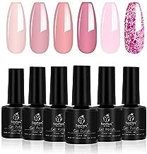 Beetles Pink Confetti Gel Nail Polish Kit- 6 Colors Nude Pink Series Gel Polish Glitter Set, Soak Off Nail Lamp Cured Gel Polish Summer Nail Varnish Manicure, 7.3ml Each Bottle, Nail Art Box