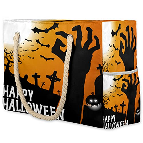 Bolsa de playa de verano para mujer, Bat Happy Halloween impermeable, bolsa...