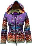 SHOPOHOLIC FASHION - Sudadera con capucha, diseño hippy con rayas, multicolor morado morado S