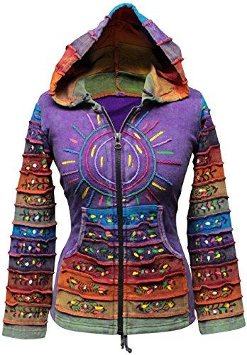 SHOPOHOLIC FASHION Säure Wäsche Mehrfarbig Patchwork Kapuzenpulli, Rainbow Gestreift Hippie Jacke, Boho - Lila, Large