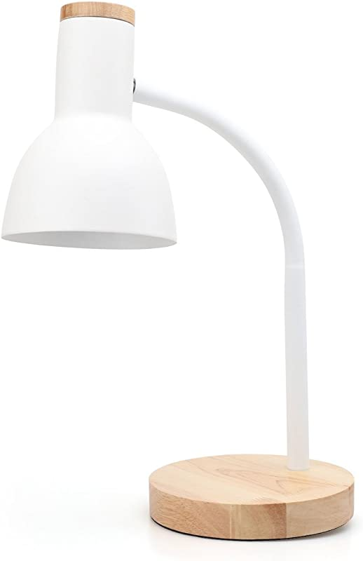 PINSOON LED Desk Lamp With Flexible Goose Neck 2 Bulb Energy Saving For Bedside Table Bedroom Study And Office