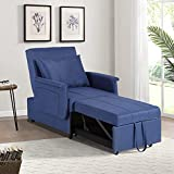IPKIG Convertible Chair Beds Sleeper, 3-in-1 Multi-Function Pull Out Sleeper Chair Upholstered Guest Bed with Lumbar Pillow and Adjustable Backrest Sleeper Chair for Small Space Apartment (Blue)