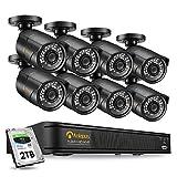 Anlapus H.265+ 1080P PoE Kit de Caméra Surveillance 2.0MP Extérieure IP67 avec 2TB NVR Enregistreur 8CH en 1080P Accès à Distance Alerte Instantanée 30M Vision Nocturne App Gratuite