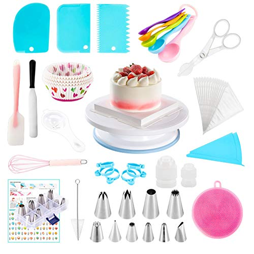 237 PCS Cake Decorating Supplies Kit for Beginners, Baking Pastry Tools, with Cake Pans Set,Cake Rotating Turntable,Cake Decorating Kits, Muffin Cup Mold