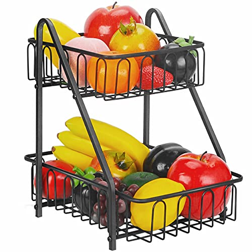 Frutero de 2 Pisos,Frutero De Capas Canasta,Cesta de Fruta y Verduras fruteros de Cocina Modernos para Verduras y Frutas Frescas