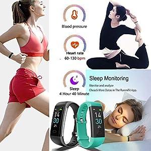 Vabogu Fitness Tracker HR, with Blood Pressure Heart Rate Monitor, Pedometer, Sleep Monitor, Calorie Counter, Vibrating Alarm, Clock IP68 Waterproof for Women Men (Black)