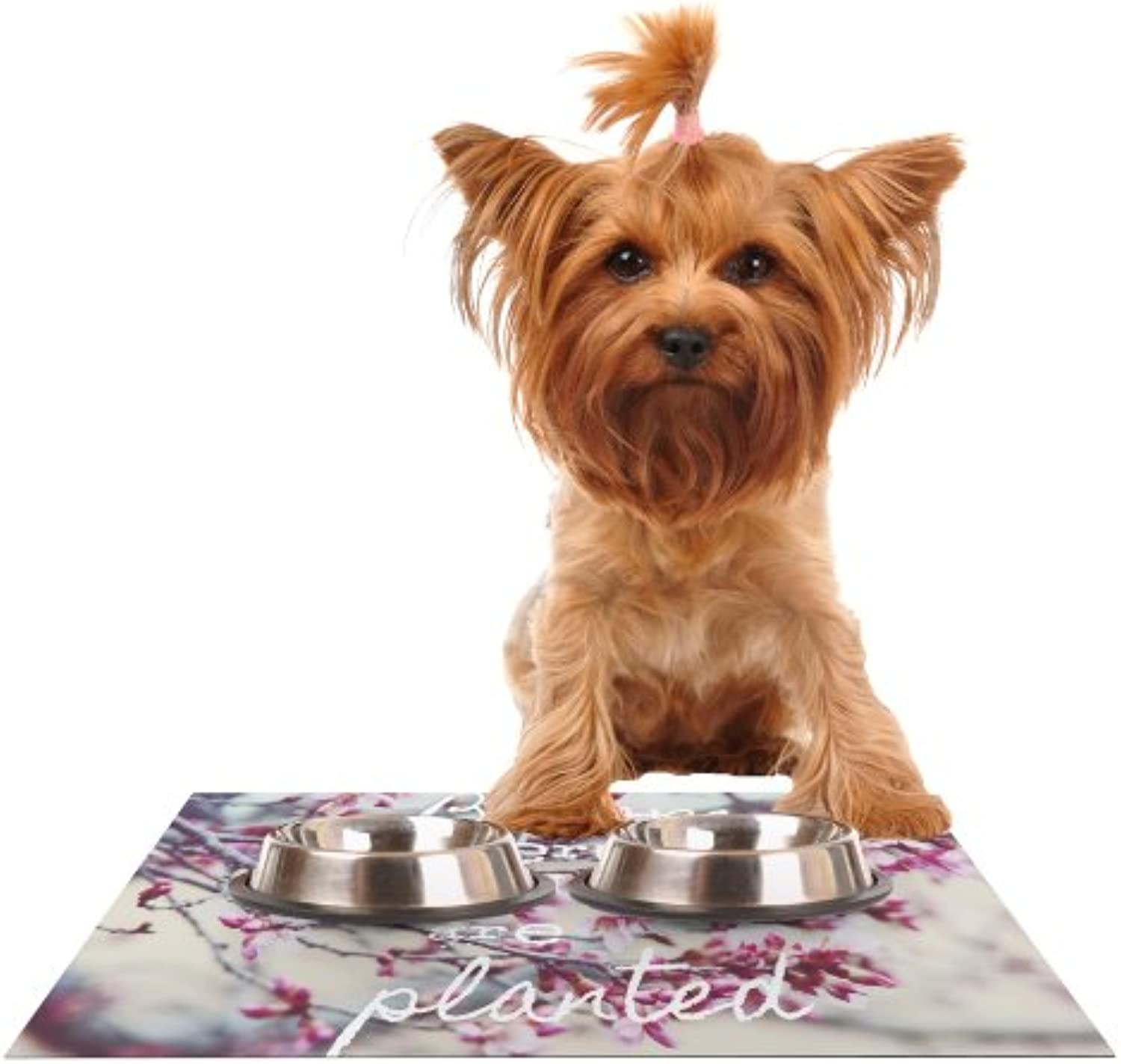 Kess InHouse Suzanne Carter Bloom Pink  Feeding Mat for Pet Bowl, 18 by 13Inch