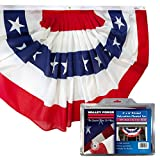 Valley Forge American Fan Flag 3' x 6' Polycotton Sentinel 100% Made In U.S.A. Stars and Stripes Bunting Canvas Header Brass Grommets Model 36636010-5-S,Multi color