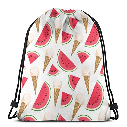 BXBX Plegable Bags Seamless Pattern with Ice Cream and Watermelon Shoulder Backpack Drawstring Backpack Nylon Folding Bag for School Home Travel Sport