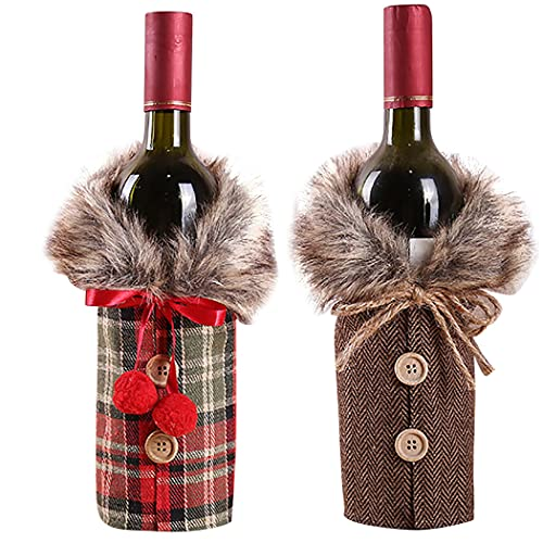 Legendog Cubierta De Botella De Navidad Linda 2 Piezas Vintage Protectora Decorativa Botella De Vino Bolsa Botella SuéTer Protector Ajustable