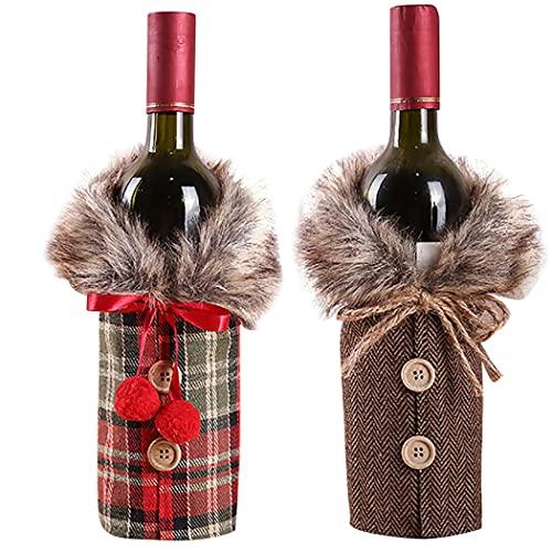 FunPa 2 botellas de Navidad con diseño de botón de cuello lindo para botella de vino de Navidad
