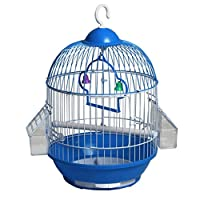 鳥かご・ケージ ペット用品古典的なラウンドバードケージの中には2つの給餌カップ付きトラベルバードケージ(青)