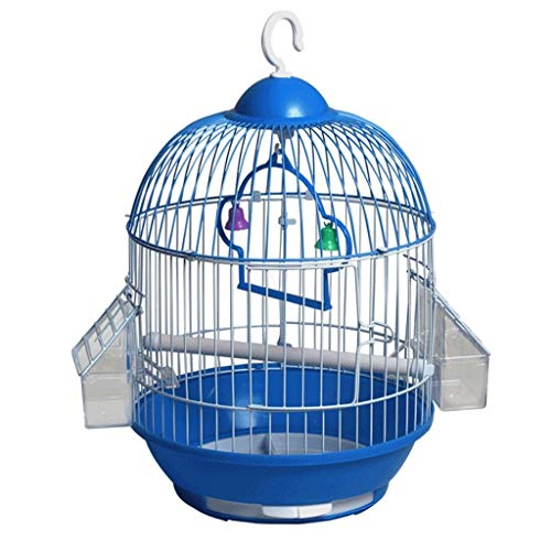 NYKK Small Bird Cage/Cottages Bird House Pet supplies classic round bird cage out travel bird cage with 2 feeding cups (blue) bird cage/Nest Box Birdhouse Birds