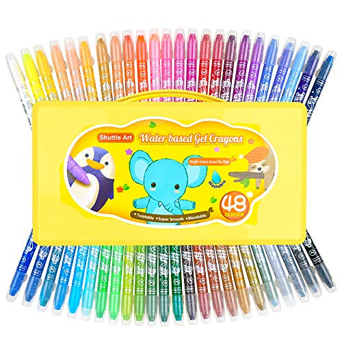 48 Colors Gel Crayons for Toddlers, Shuttle Art Non-Toxic Twistable Crayons Set with 1 Brush and Foldable Case for Kids Children Coloring, Crayon-Pastel-Watercolor Effect, Ideal for Paper