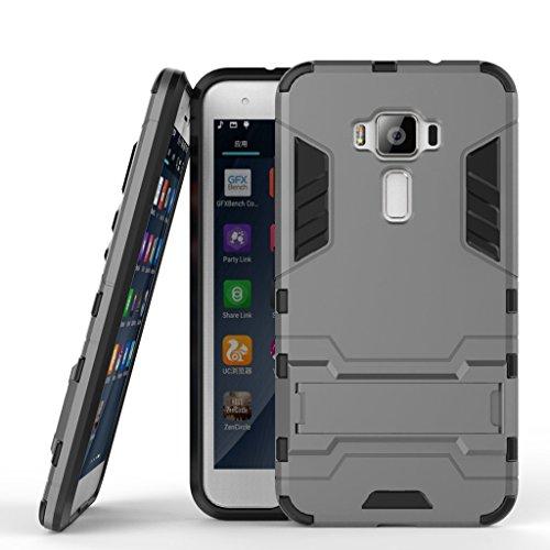Handyhülle für Asus Zenfone 3 ZE520KL Hülle Schale Tasche, Ougger Schutz [Kickstand] Leicht Hülle Schutz SchutzHülle Hart PC + Soft TPU Gummi Haut 2in1 Gear Rear für Asus ZE520KL Grau
