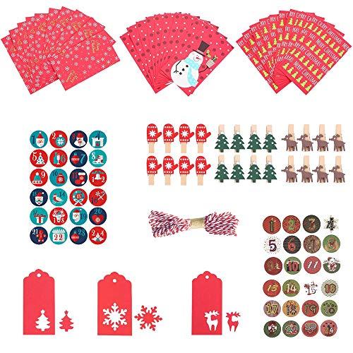 MEISHANG Geschenk Papiertueten, Adventskalender zum befüllen Kinder Zum Selber… (rot-2)