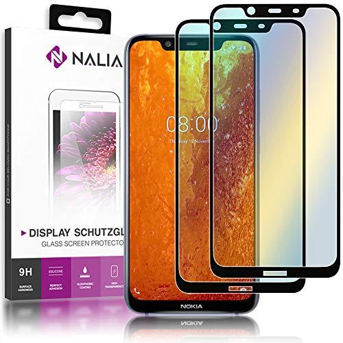 NALIA (2-Pack) Schutzglas kompatibel mit Nokia 8.1, 9H Full-Cover Bildschirm Schutz Glas-Folie, Dünne Handy Schutzfolie Display-Abdeckung Schutz-Film Screen Protector Tempered Glass - Transparent