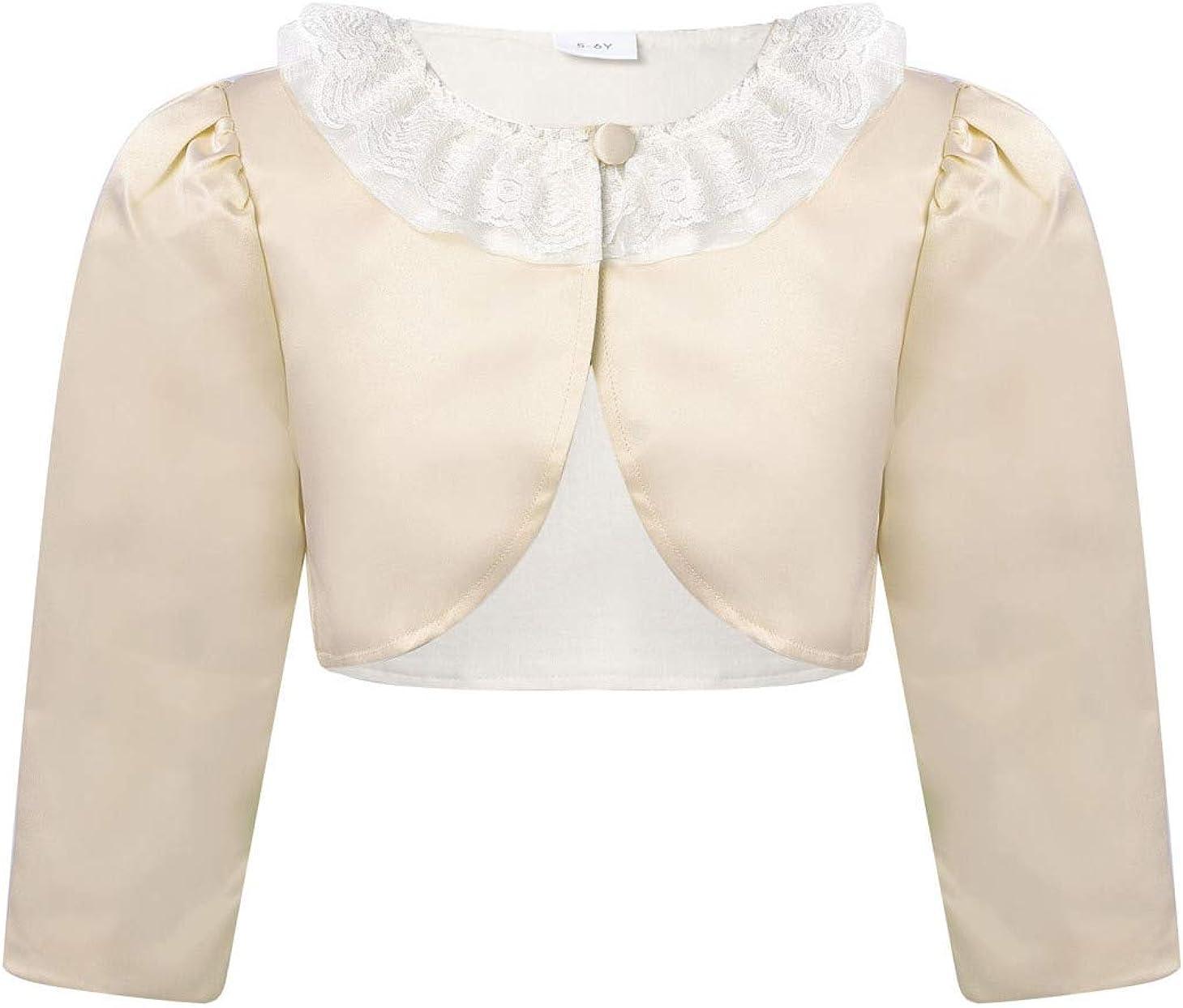 Hularka Kids Girls Bowknot Knitt Cardigan Long Sleeve Open Front Bolero Shrug Jacket