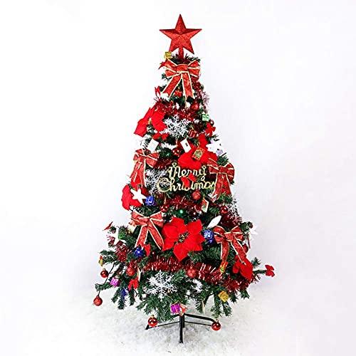 DFJU 1,5M Verschlüsselung Weihnachtsbaum Licht emittierendes Paket 400 Zweige mit bunter Lichterkette für Gärten Häuser Festliche Dekoration (Rot)