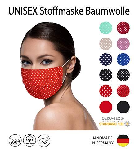 ROT weiße kleine Punkte Facies gepunktet, unisex verschiedene Farben u. Designs wiederverwendbare Stoff Facies aus Baumwolle waschbar Mund und Nasenbedeckung
