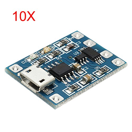 ILS - 10 pezzi Micro USB TP4056 di carica e scarica il modulo di protezione Sovracorrente sopra protezione di tensione 18650
