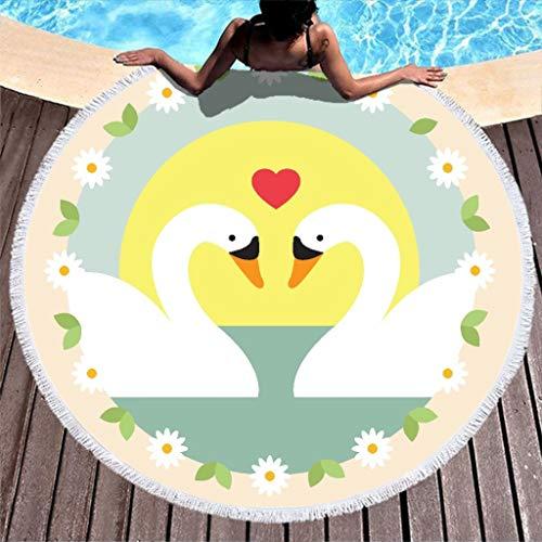 Lolyze Toalla de playa redonda grande y absorbente, de microfibra, toalla de playa, baño, picnic, esterilla de yoga, manta para deporte, color blanco, 150 cm