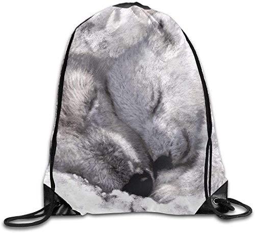 Drawstring Bag Gym Bag Travel Backpack, Cute Sleeping Polar Bears, Best Gym Backpacks For Boys Girls