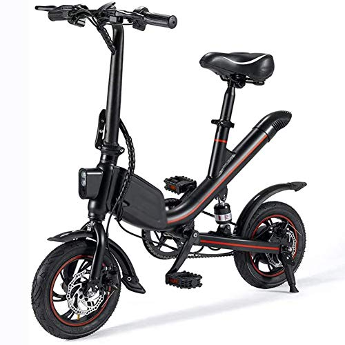 Bicicletta elettrica per Adulti, Portable Fold 12'Cyclette 250W 36V 7.8Ah Lightweight E-Bike con, per Outdoor Ciclismo Viaggi Work out,Nero