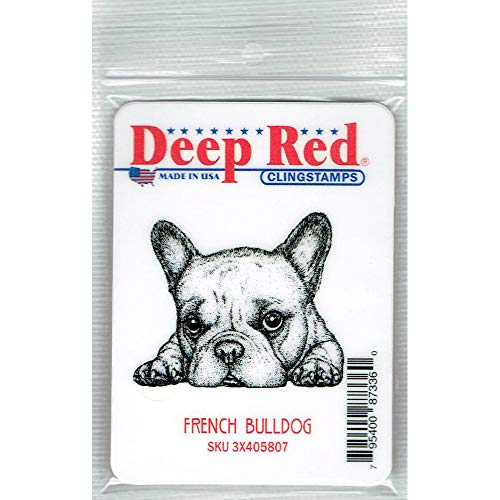 Deep Red French Bulldog Rubber Cling Stamp
