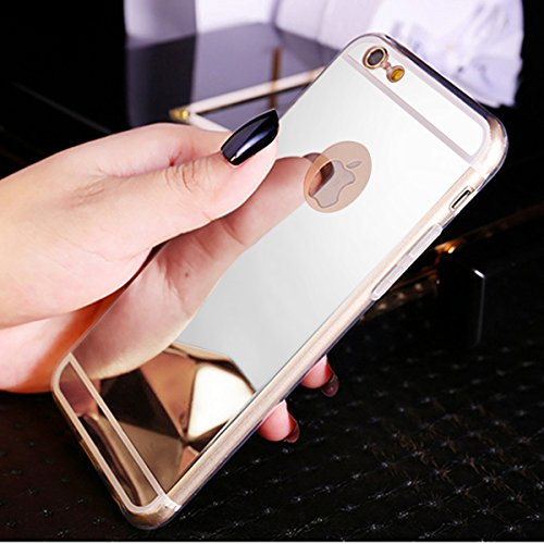 Kompatibel mit iPhone 8 Hülle,iPhone 7 Hülle,Glänzend Kristall Überzug Spiegel TPU Silikon Handy Hülle Tasche Silikon Crystal Durchsichtig Bumper Schutzhülle für iPhone 8 / iPhone 7 Hülle Case,Silber