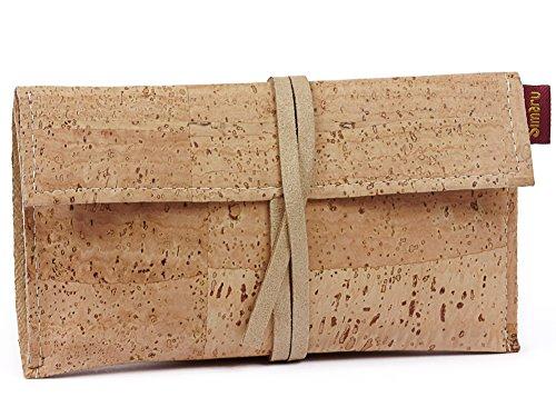 SIMARU Borsello porta tabacco in robusto sughero/cuoio di sughero, Portatabacco incl. Tasche per accendino, filtri e cartine, busta portatabacco da rollare per signori & signore (beige)