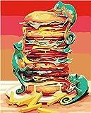 N-L Kit de Pintura al óleo de Lienzo de Pintura por números para niños y Adultos, Pintura de Dibujo de Burger King con Pinceles, Pigmento acrílico de 16 x 20 Pulgadas