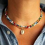 Genglass Boho - Collares con cuentas con colgante de concha para verano, playa, accesorios de joyería para mujeres y niñas