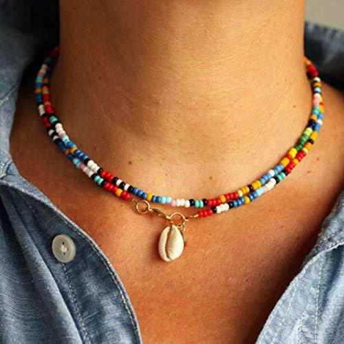 Genglass Boho Bead Collares en capas con colgante de concha corto de playa para mujeres y niñas