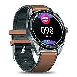 Qnlly Reloj Inteligente con frecuencia cardíaca Durante Todo el día y Seguimiento de Actividad, monitoreo del sueño, duración de la batería Ultra Larga, Bluetooth,Marrón