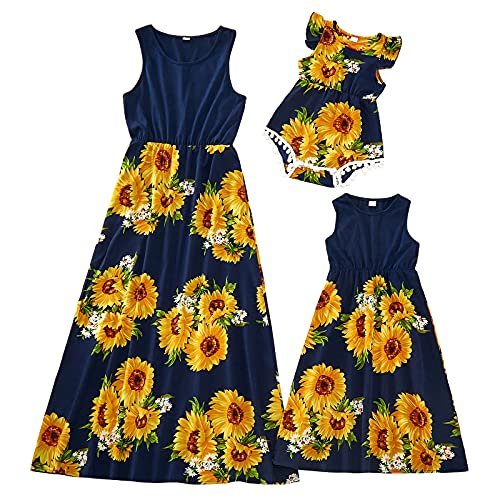 PopReal Mommy and Me Maxi Dresses Floral Print Spaghetti Strap Summer Casual Sleeveless Matching Outfits