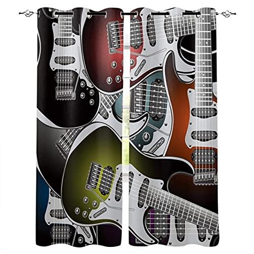 Mörkläggningsgardiner, 3D Vatten Eld Elektrisk Gitarr, Vardagsrum Värmeisolering För Vardagsrum Dekorativa Gardiner / 150 (H) X 125 (W) Cm X2 / A12748