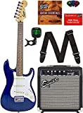 Squier by Fender Short Scale (24') Stratocaster - Transparent Blue Bundle with Frontman 10G Amp, Cable, Tuner,...