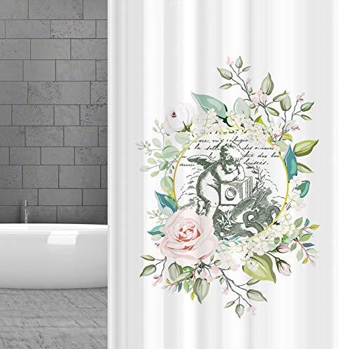KSHANDEL24 Textil DUSCHVORHANG Vintage Engel Rose 180x180 cm INKL. DUSCHVORHANGRINGE Weiss Pastell ROSA