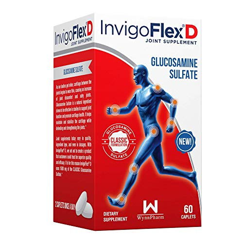 1500mg of Glucosamine Sulfate Classic Formulation  Premium Joint Pain Relief Supplement for Knees Hands Back and Hip Support by InvigoFlex® D: Glucosamine Sulfate Caplets  60 Ct