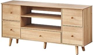 Mueble de TV natural para sala de estar, soporte de TV con estante de almacenamiento de 2 niveles y 5 cajones, centro de m...