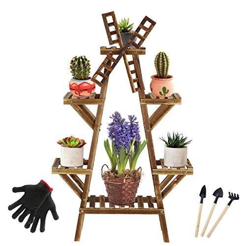Letter A with Windmill Tall Plant Stands Indoor Outdoor Plant Shelf 4 Tiered 7-9 Flower Pot Stand Holder Multi Tier Flower Display Rack Shelves with Wheel for Patio Garden Corner Balcony Living Room
