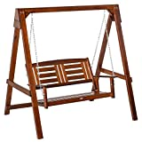 Outsunny 2-Person Outdoor Patio Swing Chair with Antebellum Style, Wood Finish/Design, & Wide Backrest for Patio & Yard, 63' x 48' x 65', 550lb