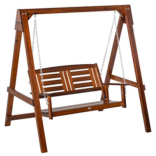 Outsunny 2 Seater Outdoor Garden Swing Chair Wooden Hammock Bench for Porch Patio Yard
