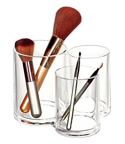 Demarkt 1 Pcs Rangement Cosmetiques 3 Compartiments en Acrylique Transparent Organisateur de Cosmétique Maquillage pour le Rouges à lèvres, Brosse,Pinceaux à Maquillage, Papeterie (Avec Couverture)