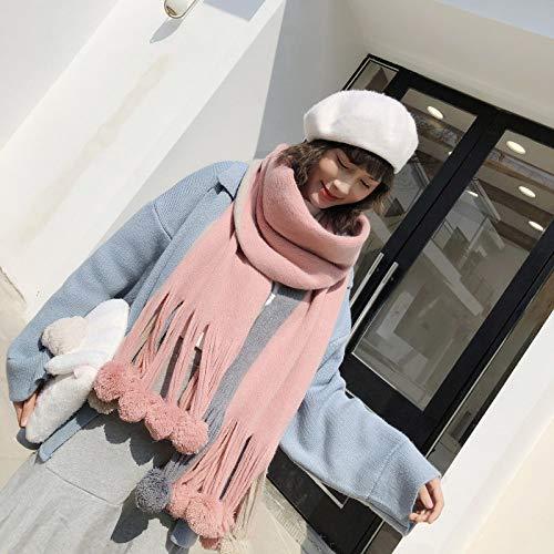 Bufandas Mujer Invierno,Estilo Japonés Bufanda Rosa con Pom Pom Suave Imitación Pashmina Acogedor Abrigo De Gran Tamaño Chal De Punto Manta Damas Ropa Al Aire Libre